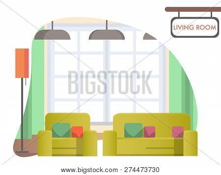 Image Living Room At Home. Cozy Home Interior. Yellow Armchair And Sofa Stand Near Window With Green