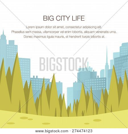 View Panorama City Park Center Big Metropolis. Banner Image Big City Life. Place To Relax Family Wee