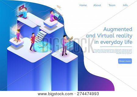 Augmented And Virtual Reality In Everyday Life 3d. Isometric Vector Banner Illustration Online Progr