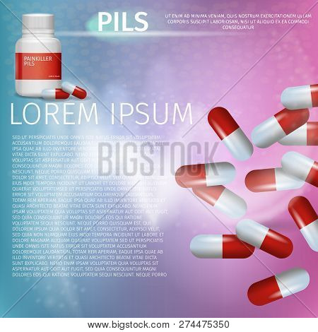 Banner Advertisement Packaging Painkiller Pils. 3d Vector Illustration Infographic Medication lying Pack Pill. Rheumatic Disease Treatment. Set Red Pills Isolated on Pink Background. poster