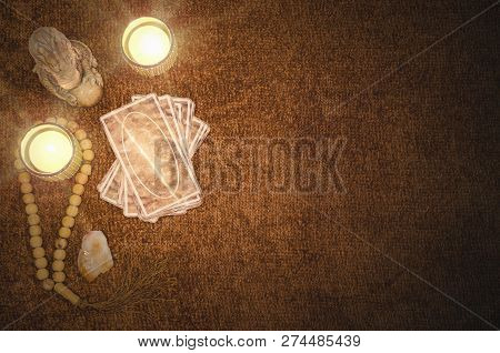 Future Reading By Tarot Cards On The Table Concept.