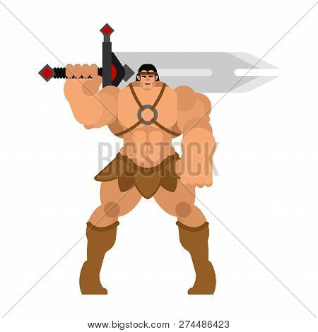 Barbarian With Sword. Strong Warrior With Weapons Big Blade. Berserk Brutal Man. Strong Powerful Med
