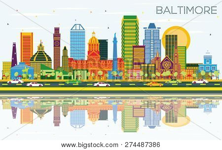 Baltimore Maryland City Skyline with Color Buildings, Blue Sky and Reflections. Business Travel and Tourism Concept with Modern Architecture. Baltimore Cityscape with Landmarks.