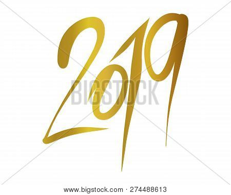 2019 Word Gold Color Vector Illustration On White Background