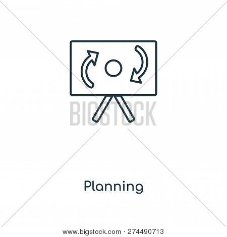 Planning Icon In Trendy Design Style. Planning Icon Isolated On White Background. Planning Vector Ic