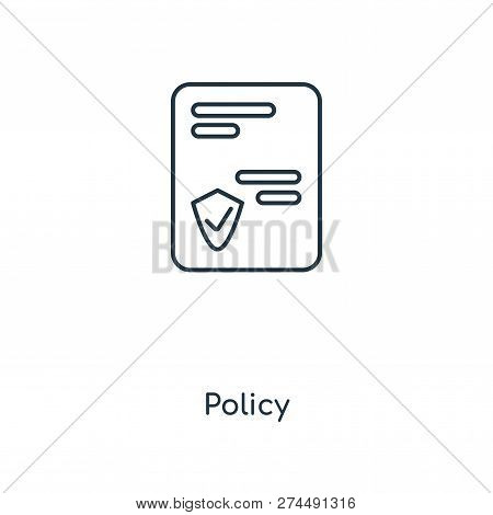 Policy Icon In Trendy Design Style. Policy Icon Isolated On White Background. Policy Vector Icon Sim