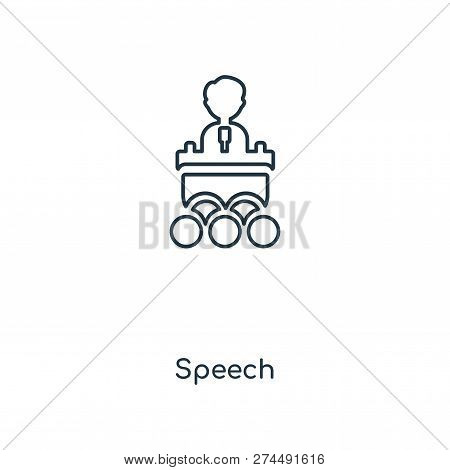 Speech Icon In Trendy Design Style. Speech Icon Isolated On White Background. Speech Vector Icon Sim