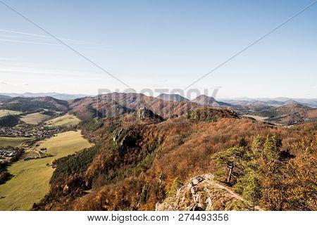View From Stefanikova Vyhliadka View Point In Autumn Sulovske Skaly Mountains With Hills Od Sulovske