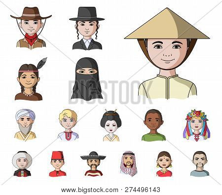 The Human Race Cartoon Icons In Set Collection For Design. People And Nationality Vector Symbol Stoc