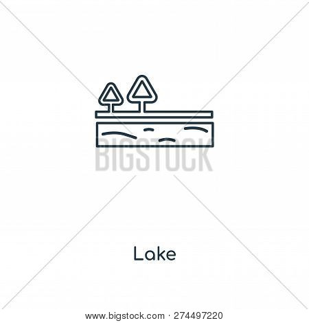 Lake Icon In Trendy Design Style. Lake Icon Isolated On White Background. Lake Vector Icon Simple An