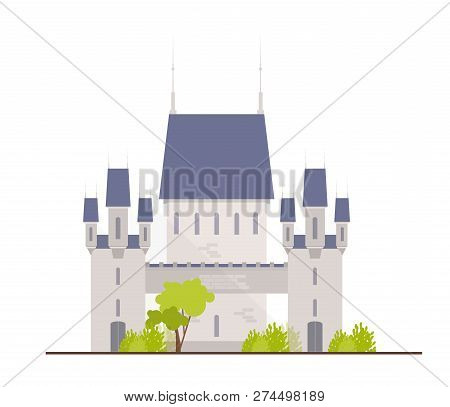 Beautiful Medieval Castle, Fortress, Citadel Or Stronghold Isolated On White Background. Facade Of R