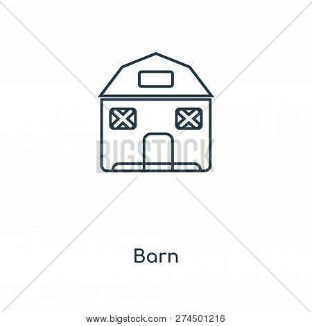 Barn Icon In Trendy Design Style. Barn Icon Isolated On White Background. Barn Vector Icon Simple An