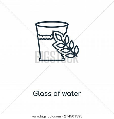 Glass Of Water Icon In Trendy Design Style. Glass Of Water Icon Isolated On White Background. Glass