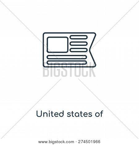 United States Of America Icon In Trendy Design Style. United States Of America Icon Isolated On Whit
