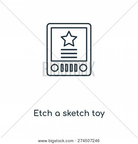 Etch A Sketch Toy Icon In Trendy Design Style. Etch A Sketch Toy Icon Isolated On White Background.