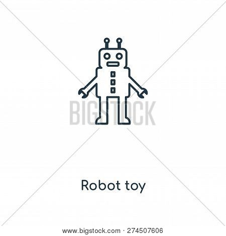 Robot Toy Icon In Trendy Design Style. Robot Toy Icon Isolated On White Background. Robot Toy Vector