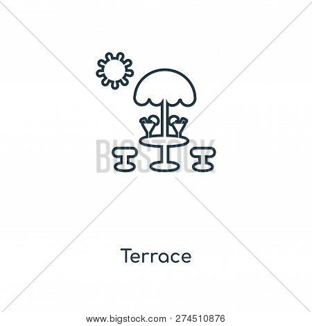 Terrace Icon In Trendy Design Style. Terrace Icon Isolated On White Background. Terrace Vector Icon