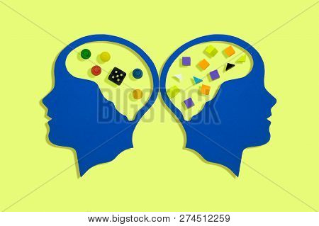 Stylized Head Silhouettes. Rational And Irrational Thinking. Symbolic Image Of Logical Thinking And