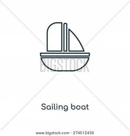 Sailing Boat Icon In Trendy Design Style. Sailing Boat Icon Isolated On White Background. Sailing Bo