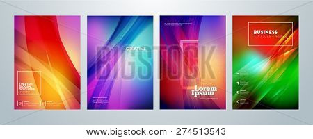 Set Of Business Brochure Cover Design Templates. Modern Business Flyer Or Poster With Abstract Color
