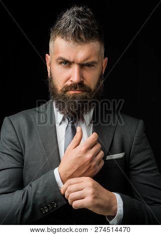 Tailor Shop. Man Suit Fashion. Businessman In Work. Meeting Suit. Businessman In Dark Grey Suit. Man