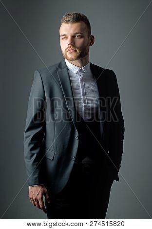 Metrosexual. Elegant Man In Suit. Modern Man Suit Fashion. Man In Classic Suit Shirt. Business Confi