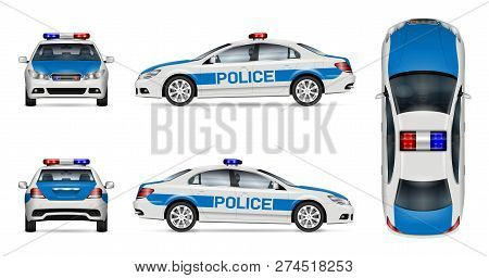 Police Car Vector Mockup On White Background, View From Side, Front, Back And Top. All Elements In T