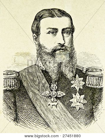 Portrait of Belgium's King Leopold II. Illustration by Alwin Zschiesche, published on