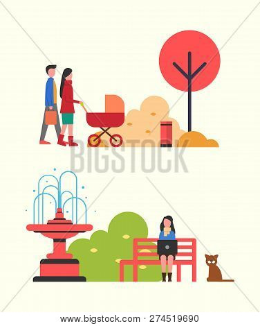 People Walking In Autumn Park With Perambulator Vector. Woman Freelancer Busy Work Sitting On Bench