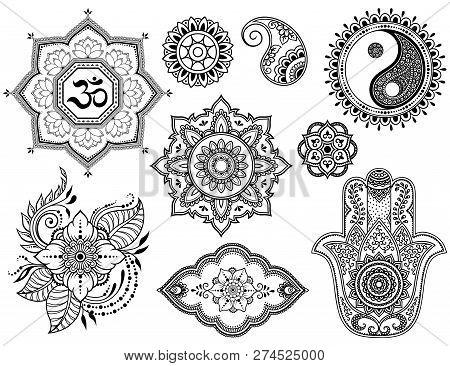 Big Set Of Mehndi Flower Pattern, Lotus, Mandala, Mantra Om, Yin-yang Symbol And Hamsa For Henna Dra