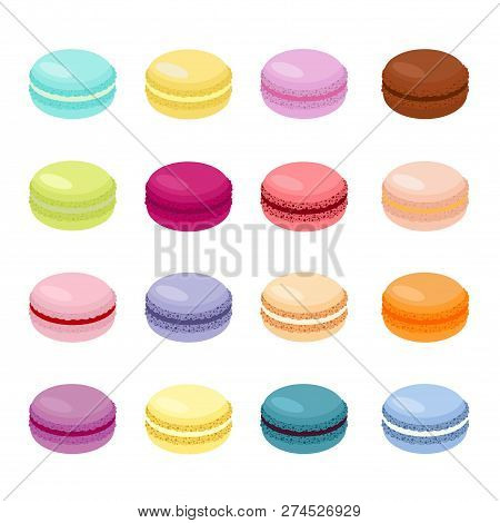 Cake Macaron Or Macaroon Vector Illustration, Colorful Almond Cookies, Pastel Colors. Macaroons Isol