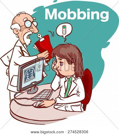 Mobbing In The Health Sector Vector Illustration