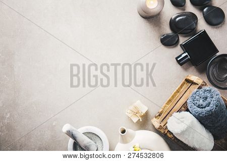 Spa Wellness Relax Concept. Spa Background With Spa Accessories On Grey Background. View From Above