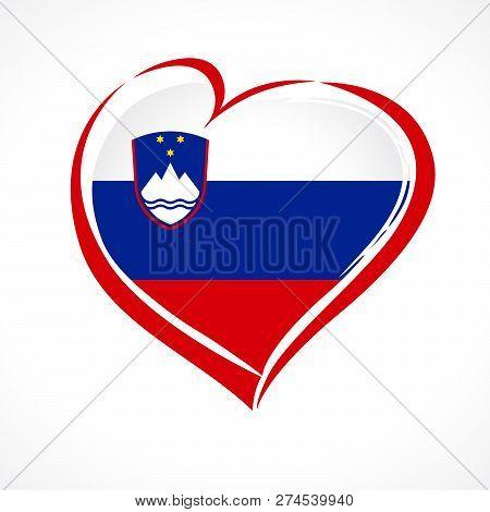 Love Republic Of Slovenia, Heart Emblem. Flag Of Slovenija With Heart Shape In National Colors. Dan