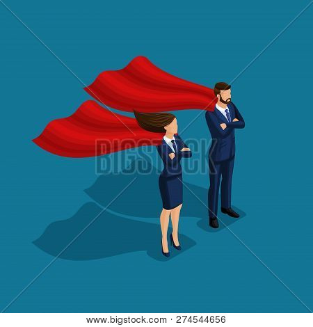 Isometric People Person, 3d Superman Business, Business Under Protection, Businessman And Business W