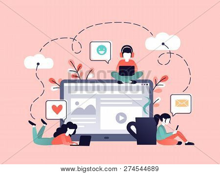 Content Strategy Marketing Vector Illustration. Social Media Advertising Concept. Small People Worki