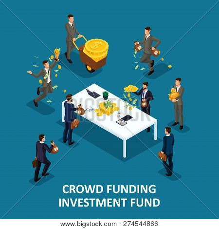 Isometric People Persona, 3d Businessmen, Investing Crowd Financing, Collaboration, Kraudinvesting,