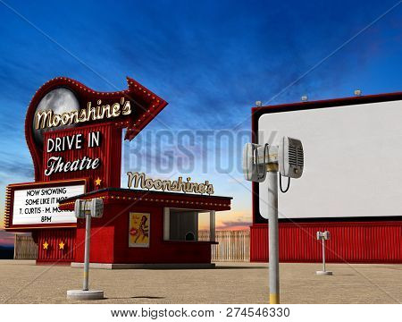 Traditional 1950s Drive-in Movie Theater, Cinema At Dusk, 3d Render, Illustarion