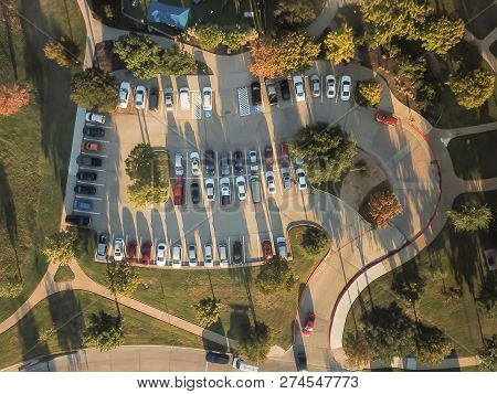 Top View Crowed Parking Lots Near Community Playground In Texas, America