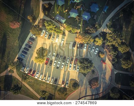 Filtered Tone Top View Crowed Parking Lots Near Community Playground In Texas, America