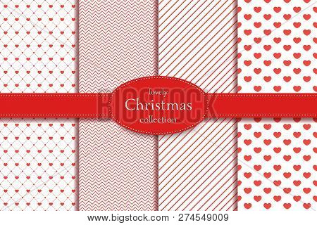 Love Pattern. Collection Of 4 Elegant Red Seamless Patterns On The Theme Of Romance And Love. Valent