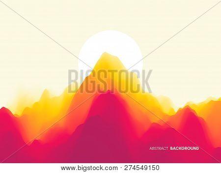Landscape With Mountains And Sun. Sunset. Mountainous Terrain. Abstract Background. Vector Illustrat