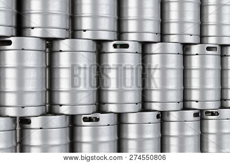 Metal Beer Kegs Stack Background. 3D Illustration