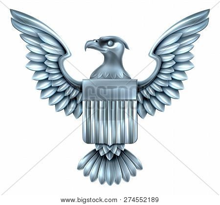 Silver Steel Metal American Eagle Design With Bald Eagle Of The United States With American Flag Shi