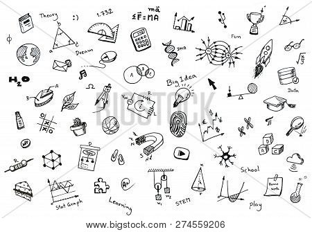 Doodle Set Of School Related Items, School Equipment And Learning Tools On White Notebook With Spira