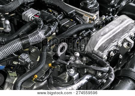 Car Engine. Car Engine Part. Close-up Image Of An Internal Combustion Engine. Engine Detailing In A