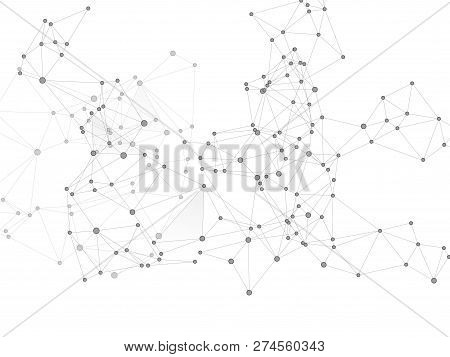 Social Media Communication Digital Concept. Network Nodes Greyscale Plexus Background. Global Social