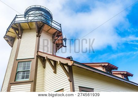 Detailed Close-up Shot Of Point Cabrillo Light House Near Fort Bragg California, On The Pacific Ocea