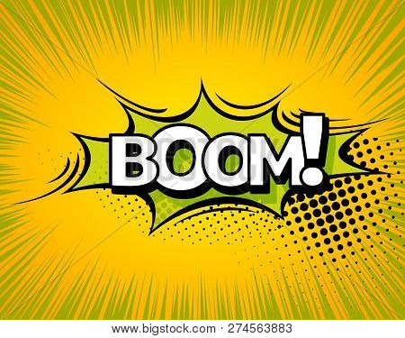 Boom. Background With Boom Comic Book Explosion Vector Design Pattern
