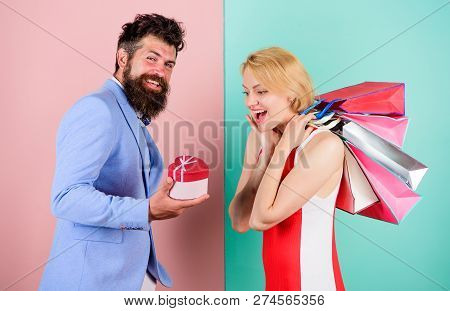 Everything She Wants. Couple With Luxury Bags In Shopping Mall. Couple Enjoy Shopping. Man Bearded H